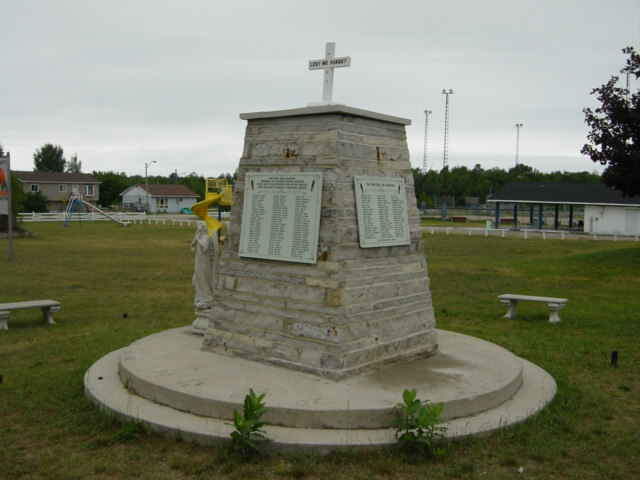 death records on Saugeen Indian Reserve Cenotaph