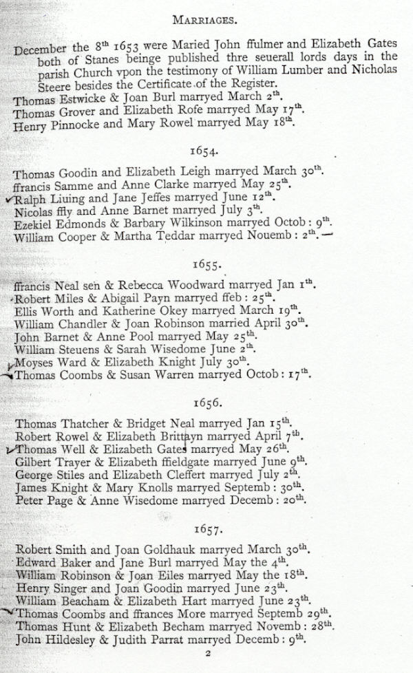 Marriages in the Parish Records of Staines, Middlesex.
