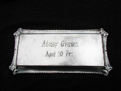 The Free Genealogy Death Record on the Coffin Plate of Abner Graves ca 1900