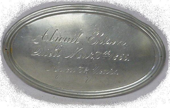 The Free Genealogy Death Record on the Coffin Plate of Abigail Edson 1803 ~ 1866