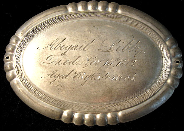 The Free Genealogy Death Record on the Coffin Plate of Abigail Libby 1794 ~ 1872