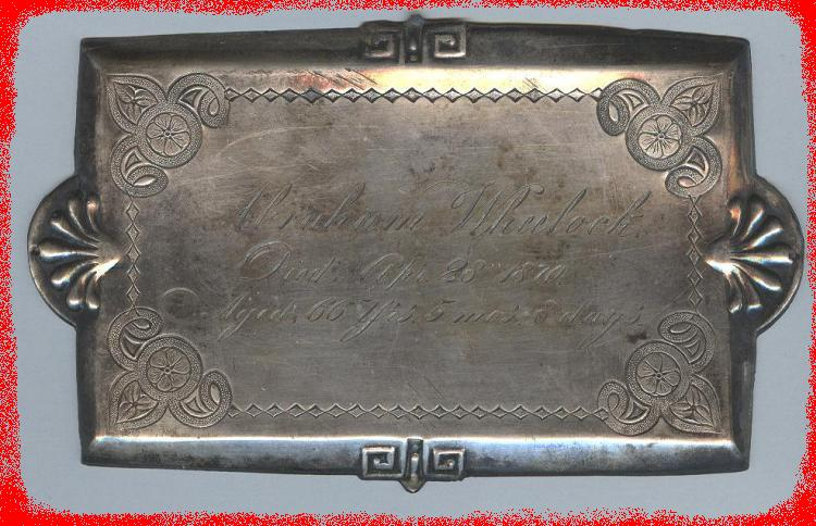 The Free Genealogy Death Record on the Coffin Plate of Abraham Wheelock 1804 ~ 1870