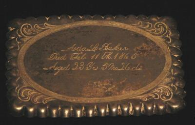 The Free Genealogy Death Record on the Coffin Plate of Ada L Baker 1842~1865