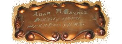 The Free Genealogy Death Record on the Coffin Plate of Adam H Jaynes 1850 ~ 1921