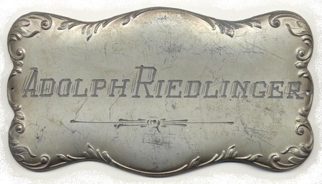 The Free Genealogy Death Record on the Coffin Plate of Adolph Riedlinger