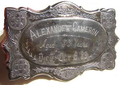 The Free Genealogy Death Record on the Coffin Plate of Alexander Cameron 1806 ~ 1889