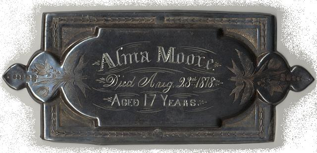 The Free Genealogy Death Record on the Coffin Plate of Alma Moore 1861 ~ 1878