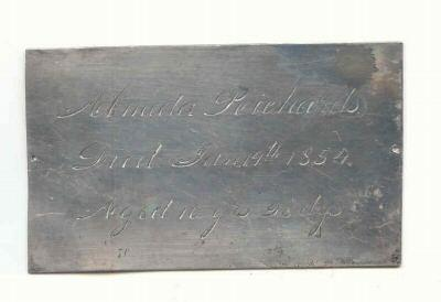 The Birth Record and Death Record on the Coffin Plate of Almeda Richards 1844~1854 is Free Genealogy