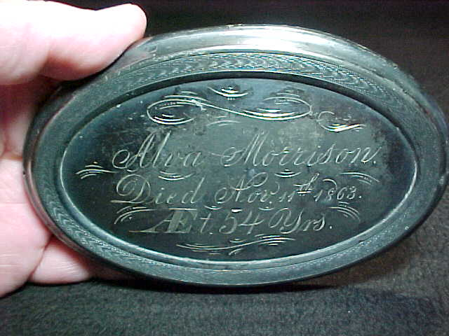 The Free Genealogy Death Record on the Coffin Plate of Alva Morrison
