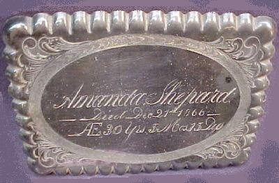 The Free Genealogy Death Record on the Coffin Plate of Amanda Shepard 1836 ~ 1866