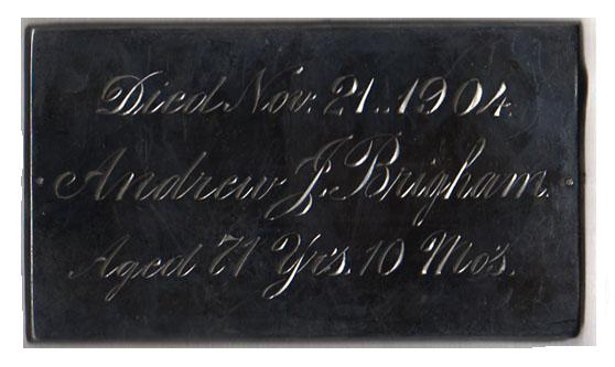 The Free Genealogy Death Record on the Coffin Plates of Asa Brigham 1784 ~ 1856, Sherman Brigham 1810 ~ 1876, Andrew J Brigham 1833 ~ 1904, Cora L Brigham 1866 ~ 1871.
