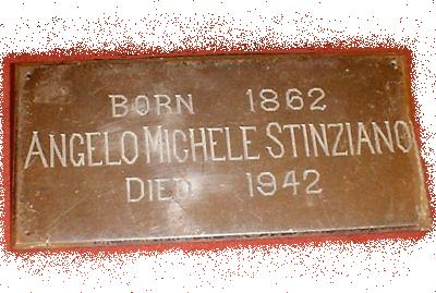 The Free Genealogy Death Record on the Coffin Plate of Angelo Michele Stinziano 1862 ~ 1942