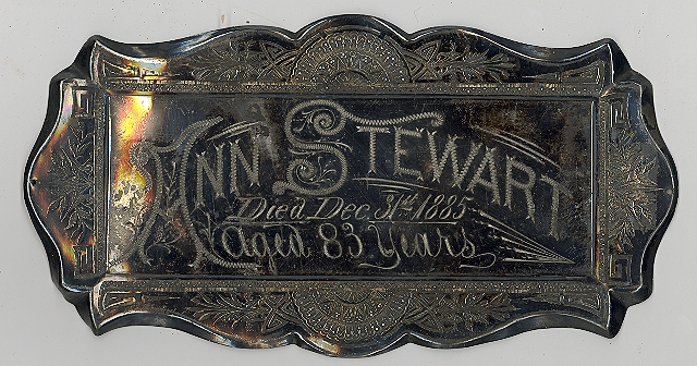 The Free Genealogy Death Record on the Coffin Plate of Ann Stewart