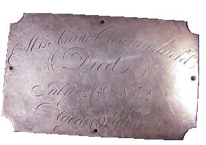The Free Genealogy Death Record on the Coffin Plate of Mrs Anna Crowninshield 1773 ~ 1852