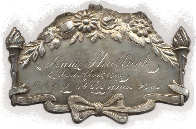 The Free Genealogy Death Record on the Coffin Plate of Anna Shattuck 1779 ~ 1863
