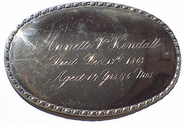 The Free Genealogy Death Record on the Coffin Plate of Annette V Kendall