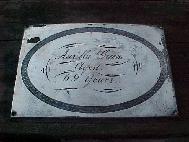 The Free Genealogy Death Record on the Coffin Plate of Aurilla Green