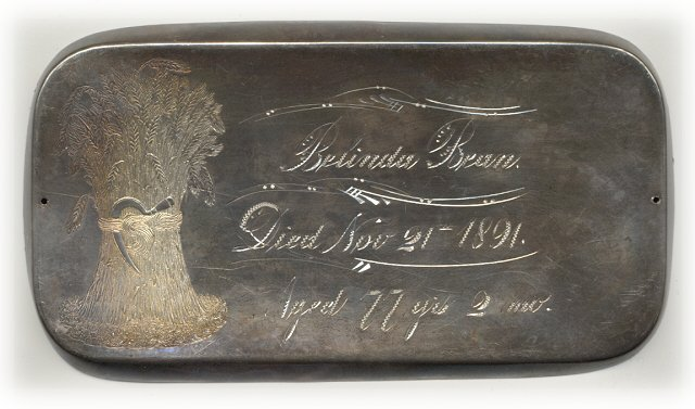 The Free Genealogy Death Record on the Coffin Plate of Belinda Bean 1814 ~ 1891