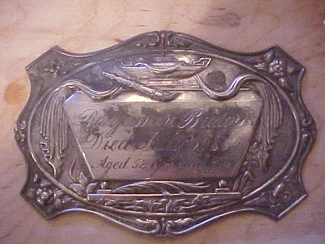 The Free Genealogy Death Record on the Coffin Plate of Benjamin A Bridges 1808~1860