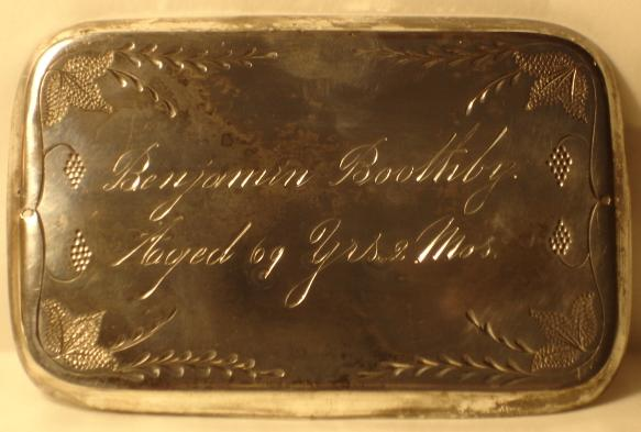 The Free Genealogy Death Record on the Coffin Plate of Benjamin Boothby