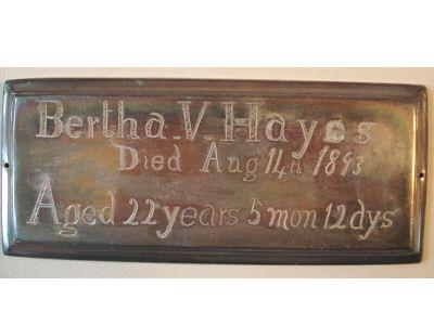 The Free Genealogy Death Record on the Coffin Plate of Bertha V Hayes 1871 ~ 1892