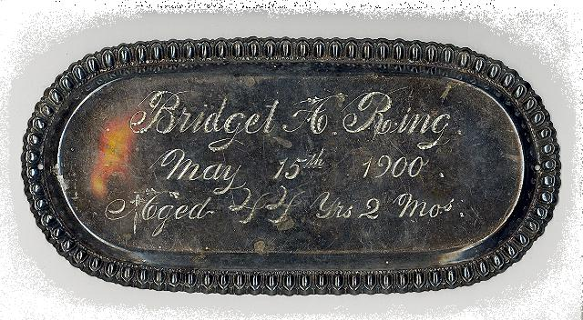 The Free Genealogy Death Record on the Coffin Plate of Bridget A Ring 1856 ~ 1900