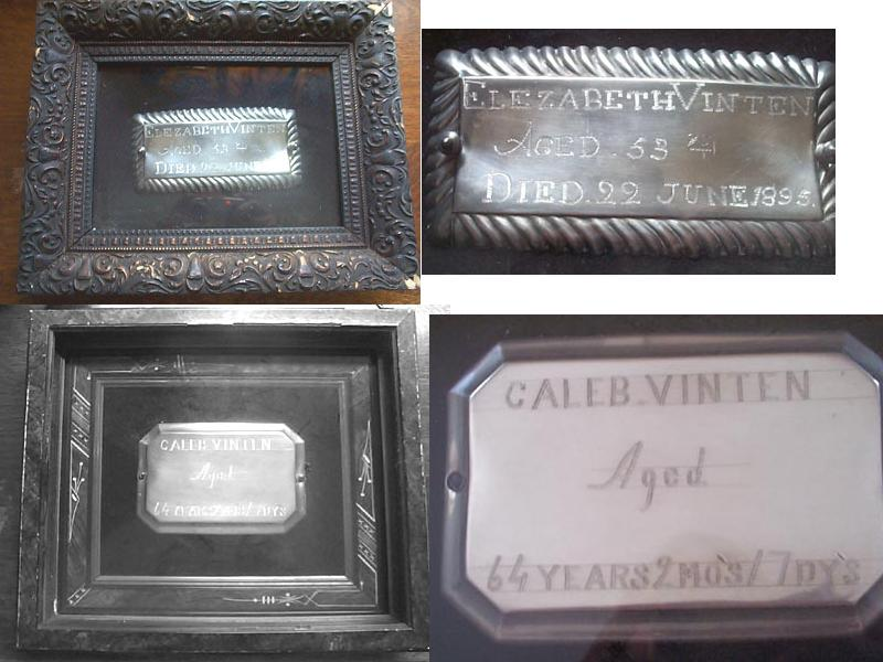 The Free Genealogy Death Record on the Coffin Plate of Caleb Vinten age 64 and Elezabeth Vinten 1842 ~ 1895