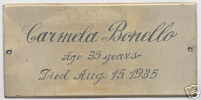Free Genealogy Death Record on the Coffin Plate of Carmela Bonello