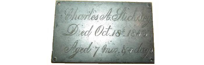 The Free Genealogy Death Record on the Coffin Plate of Charles A Stickney