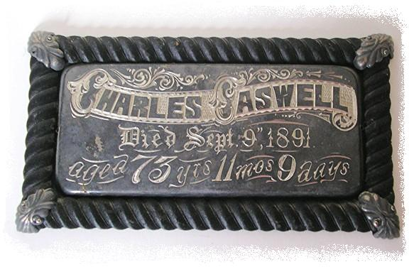 The Free Genealogy Death Record on the Coffin Plate of Charles Caswell 1818 ~ 1891
