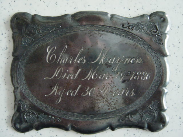 The Free Genealogy Death Record on the Coffin Plate of Charles Mayness 1856 ~ 1886