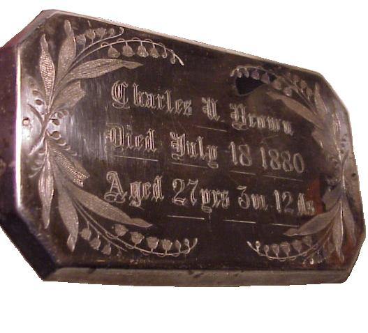 The Free Genealogy Death Record on the Coffin Plate of Charles N Brown 1853 ~ 1880