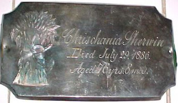 The Free Genealogy Death Record on the Coffin Plate of Chrishania Sherwin
