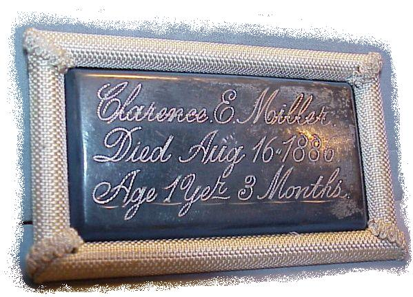The Free Genealogy Death Record on the Coffin Plate of Clarence E Miller 1885 ~ 1886