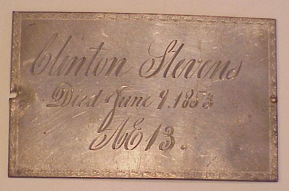 The Free Genealogy Death Record on the Coffin Plate of Clinton Stevens