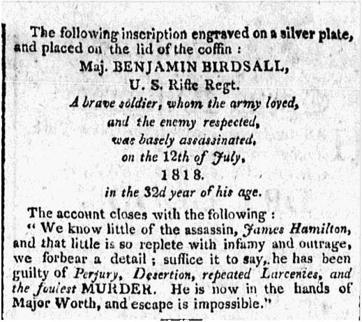 The Free Genealogy Death Record on the Coffin Plate of Benjamin Birdsall 1786 ~ 1818