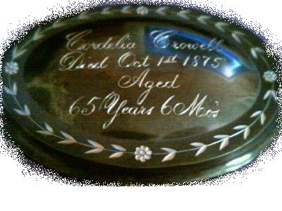 The Free Genealogy Death Record on the Coffin Plate of Cordelia Crowell 1810 ~ 1875