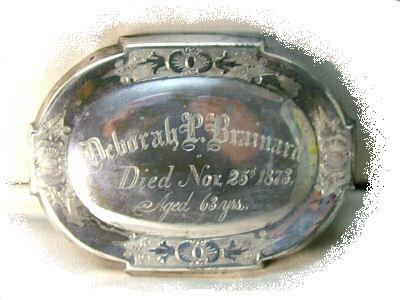 The Free Genealogy Death Record on the Coffin Plate of Deborah P Brainard 1810 ~ 1873