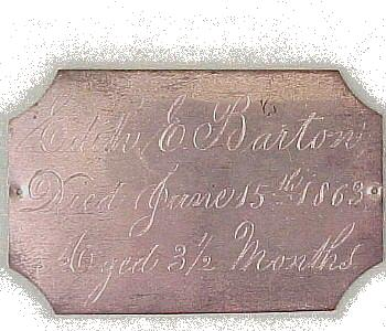 The Free Genealogy Death Record on the Coffin Plate of Edith E Barton 1863 ~ 1863
