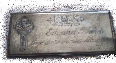 The Free Genealogy Death Record on the Coffin Plate of Edourd Plante