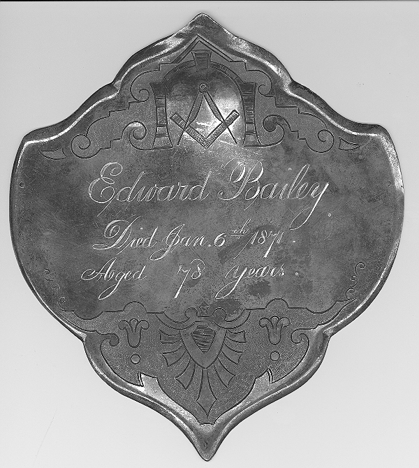 The Free Genealogy Death Record on the Coffin Plate of Edward Bailey 1793~1871
