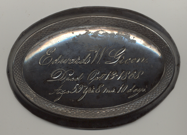 The Free Genealogy Death Record on the Coffin Plate of Edwards W Green 1809 ~ 1868