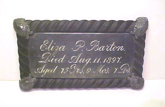 The Free Genealogy Death Record on the Coffin Plate of Eliza P Barton