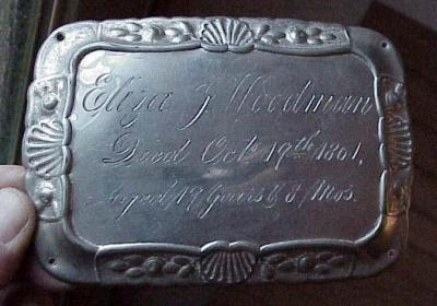 Free Genealogy Death Record on the Coffin Plate of Eliza J Woodman