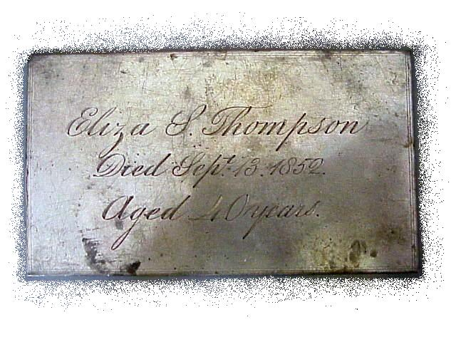 The Free Genealogy Death Record on the Coffin Plate ofEliza Thompson