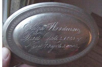 Free Genealogy Death Record on the Coffin Plate of Eliza Woodman 1803 ~ 1882