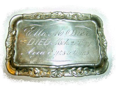The Free Genealogy Death Record on the Coffin Plate of Ella M Osier 1869 ~ 1877