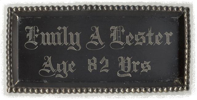 The Free Genealogy Death Record on the Coffin Plate of Coffin Plates of Mary J Lester, Volney Lester, Adele Lester and Emily A Lester