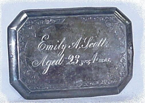 The Free Genealogy Death Record on the Coffin Plate ofEmily A Scott