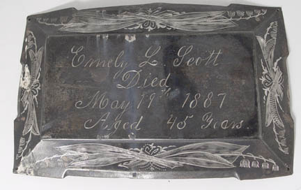 Free Death Record on the Coffin Plate of Emely L Scott 1842~1887is Free Genealogy
